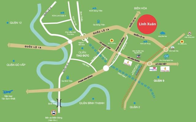 Bản đồ vị trí Linh Xuân