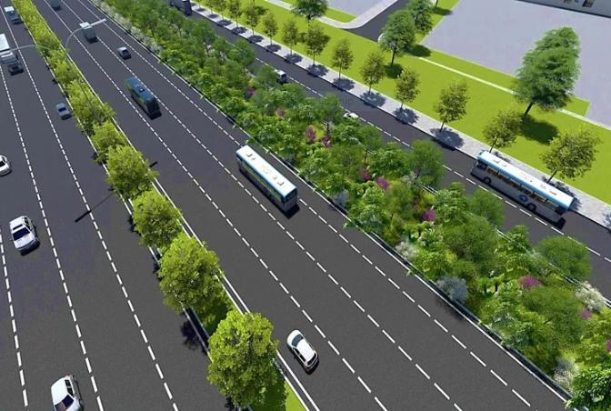 Phối cảnh mảng xanh bên phải Xa lộ Hà Nội