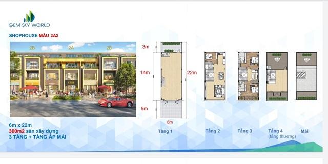 Shophouse 2A2 dự án Gem Sky World