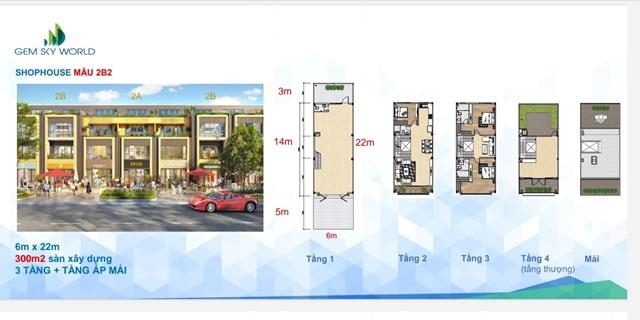 Shophouse 2B2 dự án Gem Sky World